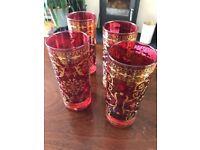 4 ruby hi ball glasses