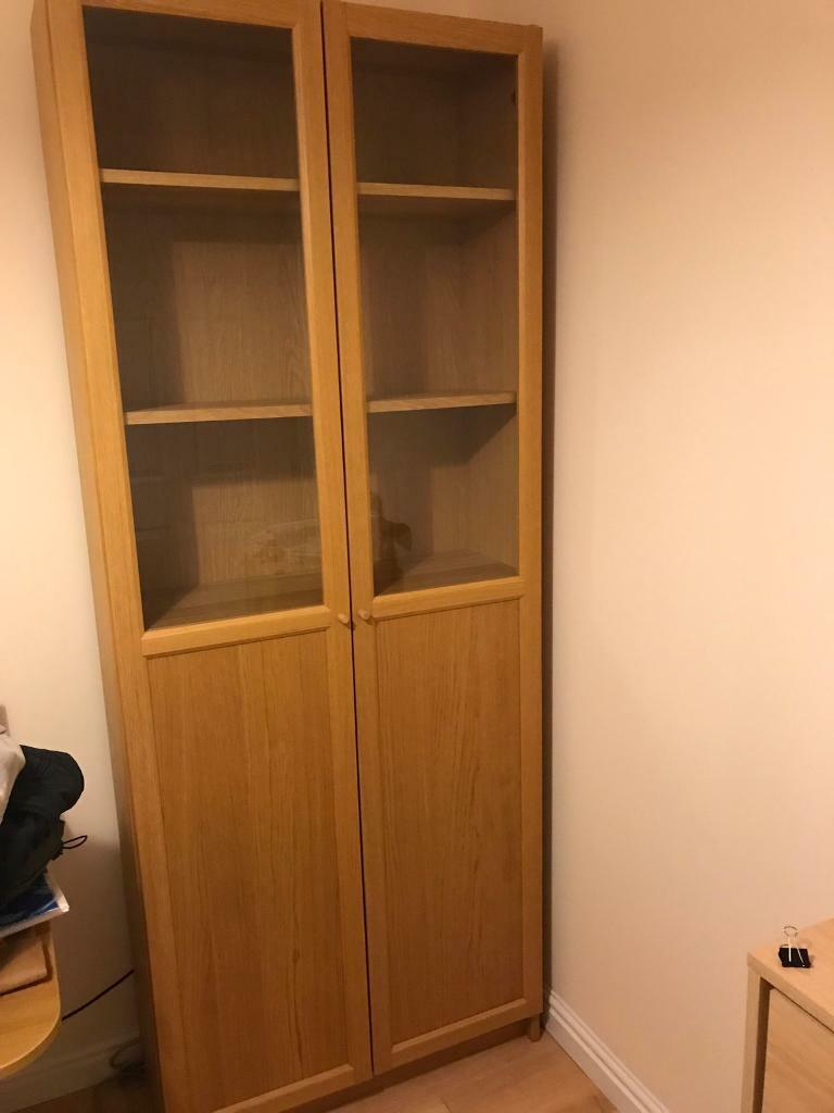 ikea billy oxberg bookcase with glass doors for sale in aberdeen gumtree. Black Bedroom Furniture Sets. Home Design Ideas
