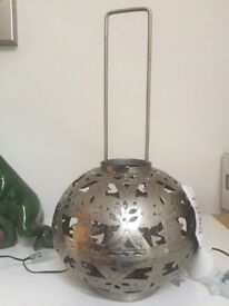 New Silver Colour Metal Decorative Lantern Candle Holder Tealight Home Decor Ethnic Style BNWT