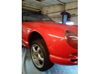 TVR CHIMERA 450 .BRIGHT RED WITH BLACK LEATHER SEATS AND DASH.STITCHED IN RED AND TVR HEADRESTS