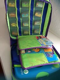 LeapFrog LeapPad and 12 books/cartridges with storage case