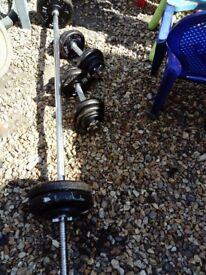 Weights set 55 kg barbell dumbbell bars