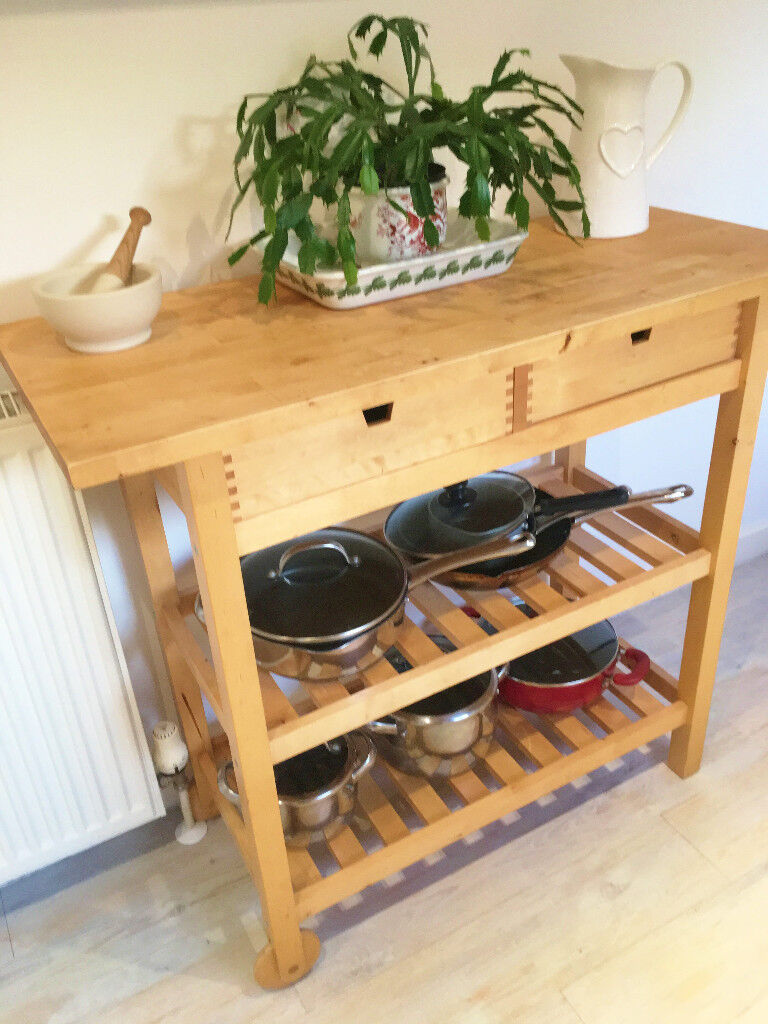 Ikea FÖrhÖja Kitchen Trolley Wooden With Moving Wheel Lovely Condition Fully Assembled