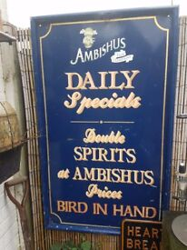 Ambishus pub sign for gardens
