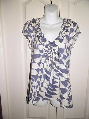 ANTHROPOLOGIE C. KEER Gathered Trim Puff Sleeve Swing Shirt Small