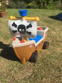 Little Tykes ride on pirate ride ship. Ideal for indoor or outdoor play. Great fun