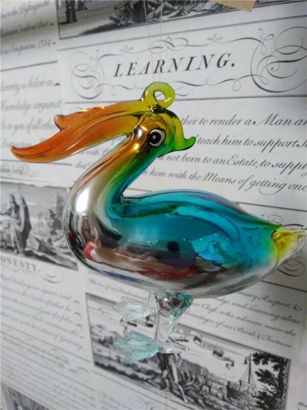 """Blown Glass Pelican Beach Ocean Sea Theme Christmas Ornament*4"""" tall Figurine"""