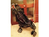 Maclaren Techno XT pram for sale including a rain cover and parasol.
