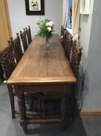 Antique 8 place dining table with chairs