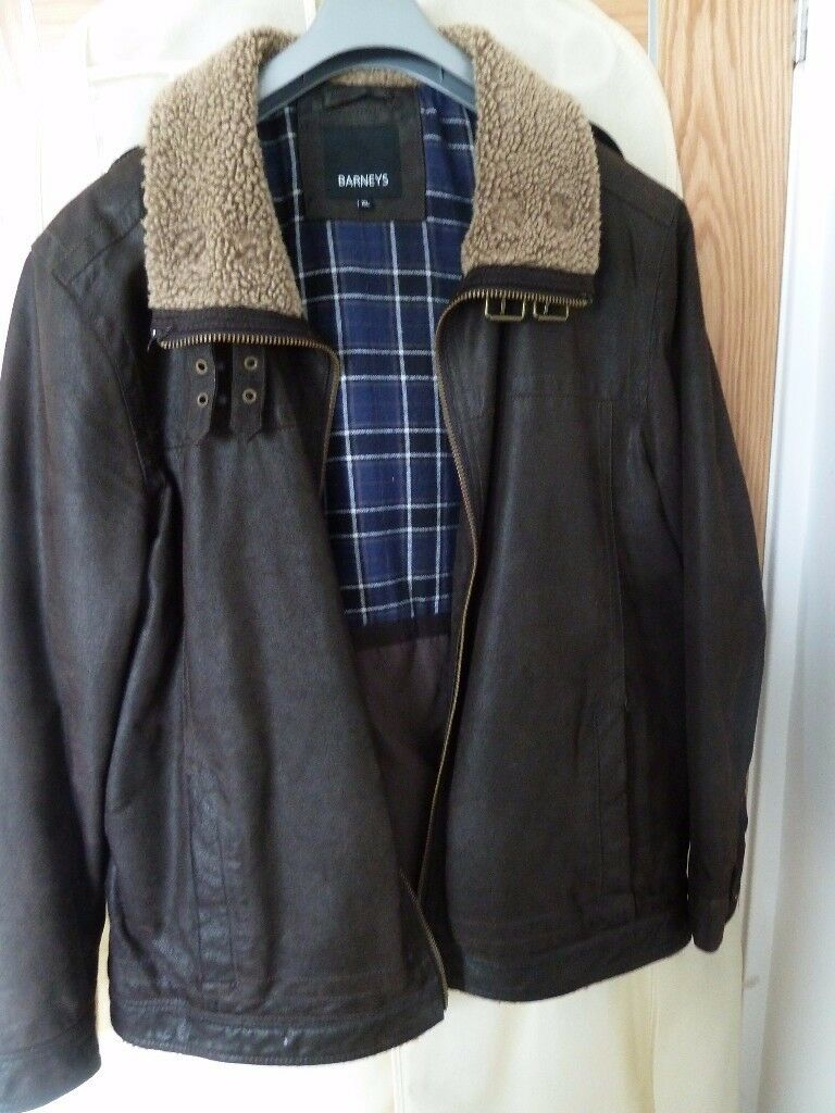 Dark Brown Leather Jacket - Mens XL - Debenhams Barney Jacket with Borg Collar
