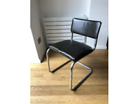 Vintage Chrome & Brown Leather chair - N5