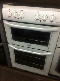 White belling 55cm ceramic hub electric cooker grill & double fan ovens with guarantee bargain