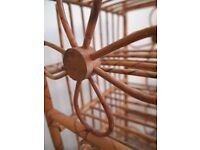 Vintage Retro Bohemian Bamboo / Cane Wine Storage Rack 60's Flower Pattern