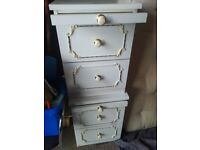 2 x white bedside tables with drawers and pull-out shelf