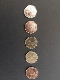 Beatrix Potter 50p coins collection rare inc Peter Rabbit half whisker
