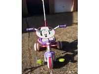 Trike girls pink - with parent handle