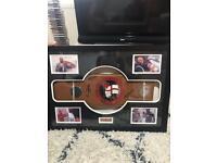 Multi signed framed English title boxing belt