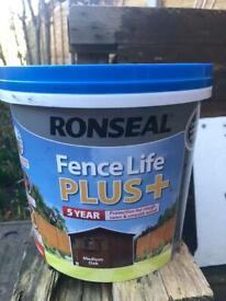 Ronseal Fence life plus Medium oak Matt Fence & shed Wood treatment 5L
