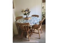 Country dining table and 4 chairs perfect for painting/upcycling