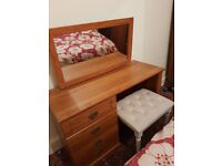 Pine dressing table with mirror and stool 55£