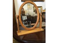 Oval pine dressing tabletop mirror