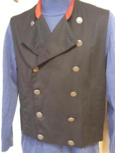 MENS NEW Le Chateau Vest Confederate Soldier Look 38 Medium Black Red Waistcoat Mans SCA Historical look
