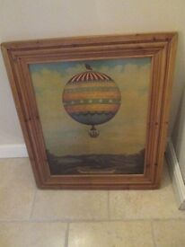 Large Vintage Hot Air Balloon Wall Picture