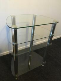 Glass and chrome TV unit with four shelves