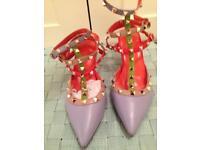 Studded straps tri-colour kitten heel Brand new size UK 4.5/ 5