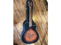 Ozark thin-line electro-acoustic guitar.