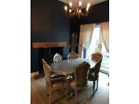 Crushed velvet and silver dining table and chairs