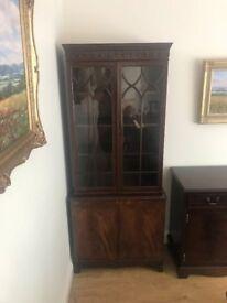 Mahogany Tall Glass Dresser
