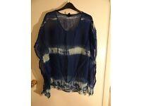 BNWT H&M Blue & White Tie Dye Top Size 14