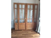 French doors. Internal. Pine. Glazed. Height 196cm. Total width 170cm.