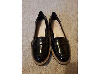 Ladies clarks black patent shoes size 4 brand new