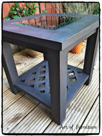 Coffee Table with glass Hand Painted in Annie Sloan Graphite Chalk Paint.