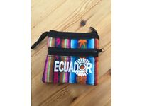 Brand new, Ecuador handmade woven purse with 2 zipped compartments. £2.50. Can post or collect from