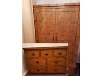 Solid Oak Beautiful Ripley Bedroom Furniture Set Wardrobe and 3+4 Chest of Drawers