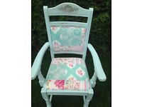 shabby chic carver dining desk chair duck egg fabric seat and back (17)