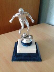 Silver Football Trophy on Blue Base