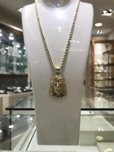 10k Yellow Gold And Jesus Piece Pendant Set With 26 inch Rope chain 4.3mm