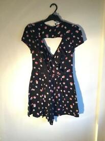 Black with Pink Flowers Playsuit - Size 10