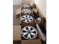 "Vauxhall Vectra Astra Insignia Genuine Set 18"" VXR Snowflake Alloy Wheels Brand New & Centre Caps"