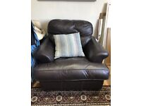 GENUINE BROWN LEATHER THREE SEATER SOFA AND MATCHING ARM CHAIR ,GOOD CONDITION FREE LOCAL DELIVERY