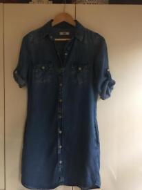 Mango light denim shirt dress