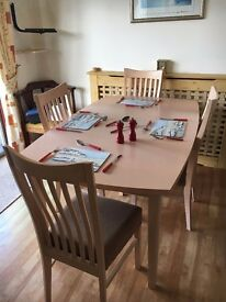 Extending Dining table and 4 upholstered chairs