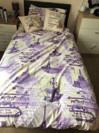 Single bed with memory foam mattress