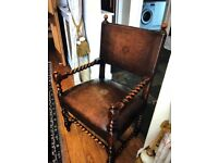 Dark oak 2 large arm chairs - antique look hard leather cushioned