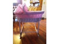 Pink white wicker moses basket with rocking stand for sale
