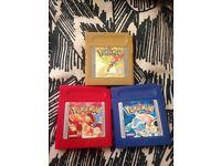 Pokemon Red, Blue & Gold - Original Gameboy cartridges bundle.